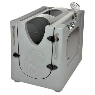 35 in. x 24.7 in. Pet Shower and Grooming Enclosure with Splash Guard, Removable Shelf and Wheels