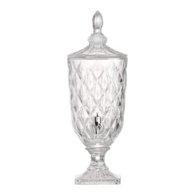 19 in. Clear Polished Silver Lidded Drink Dispenser
