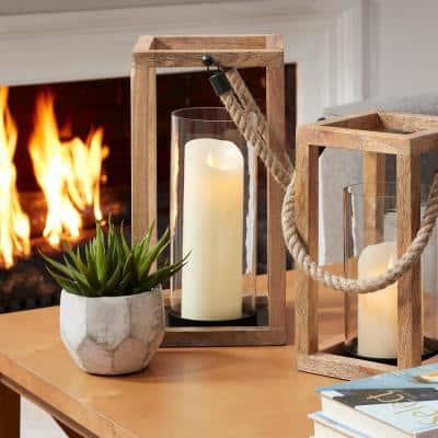 Natural Mango Wood Candle Hanging or Tabletop Lantern with Rope Handle (Set of 2)