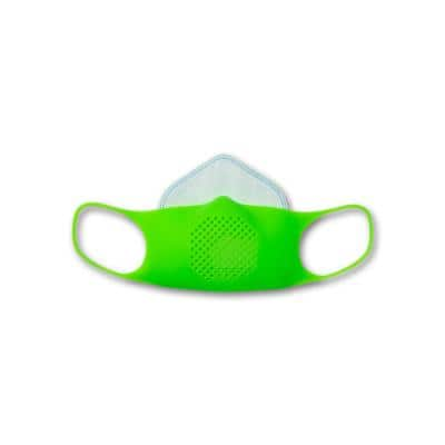 Kids Silicone Reusable Face Mask Kit with 5 Disposable Filters and Clip, Limeade