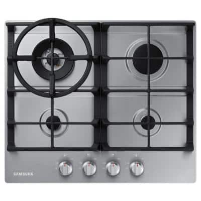 24 in. Gas Cooktop with 4 Burners and Wok Grate in Stainless Steel