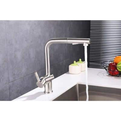 Single-Handle Pull Out Sprayer Kitchen Faucet in Polished Chrome