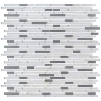 Lucid Sky Interlocking 12 in. x 12 in. x 4 mm Glass/Metal Mesh-Mounted Mosaic Tile (0.98 sq. ft.)