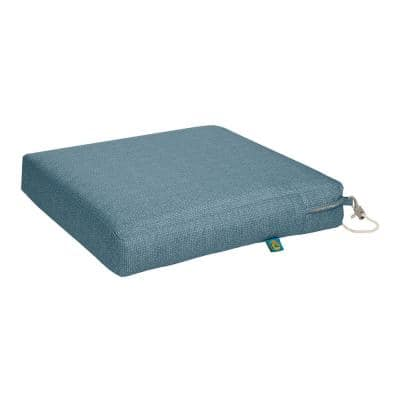 Weekend 17 in. W x 17 in. D x 3 in. Thick Square Outdoor Dining Seat Cushion in Blue Shadow