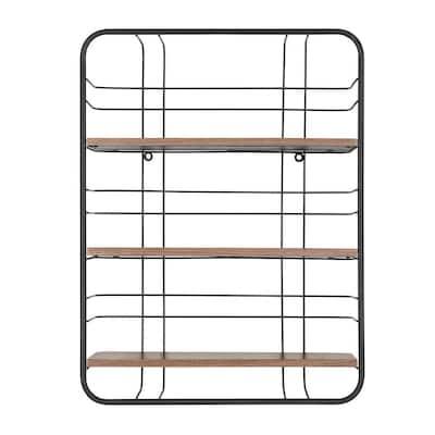 24 in. H x 18 in. W x 6 in. D Wood and Black Metal Wire Wall-Mount Bookshelf