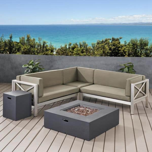Noble House La Vista Silver 5 Piece Aluminum Patio Fire Pit Sectional Seating Set With Khaki Cushions 71040 The Home Depot