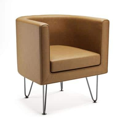 ClaireCamel Faux Leather Upholstered Barrel Accent Chairwith Hairpin Legs