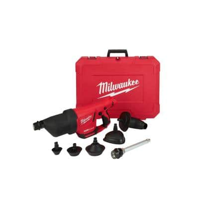 M12 12-Volt Lithium-Ion Cordless Drain Cleaning AIRSNAKE Air Gun (Tool Only) with Toilet Attachment Accessories