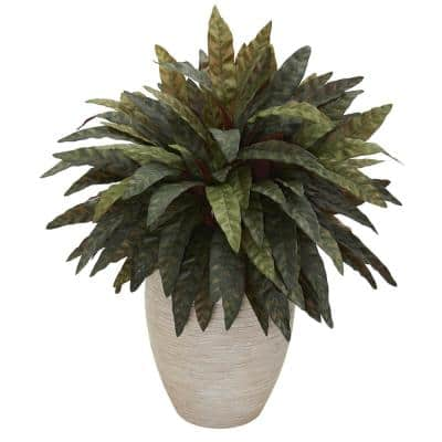 Indoor Peacock Artificial Plant in Sand Oval Planter