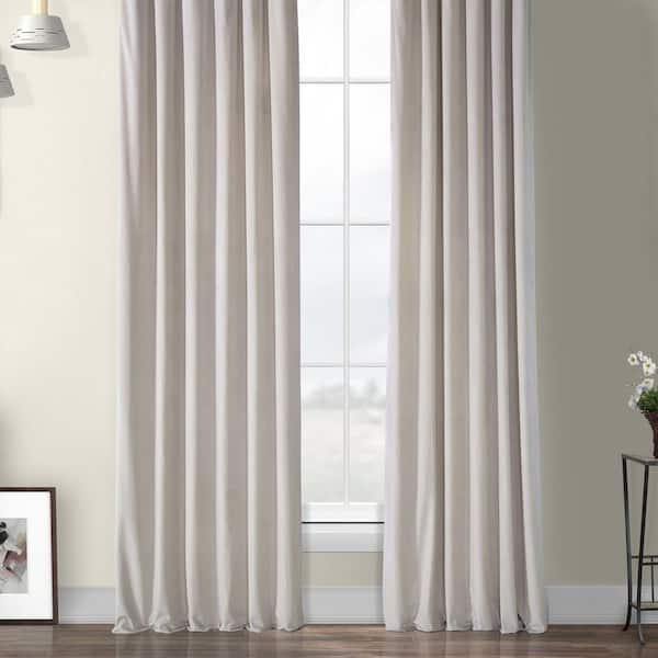 Exclusive Fabrics Furnishings City Grey Velvet Rod Pocket Room Darkening Curtain 50 In W X 96 In L Vpyc 179916 96 The Home Depot