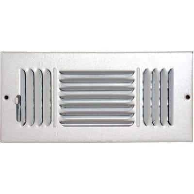8 in. x 4 in. Ceiling/Sidewall Vent Register, White with 3-Way Deflection