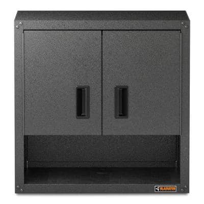 Steel 2-Shelf Wall Mounted Garage Cabinet in White (28 in W x 28 in H x 12 in D)