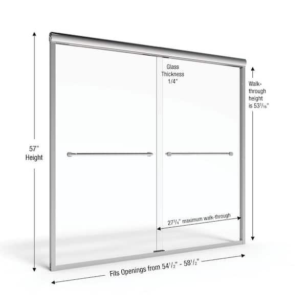 Basco Infinity 58 1 2 In X 57 In Framed Sliding Tub Door In Silver Infh05a5857rnsv The Home Depot