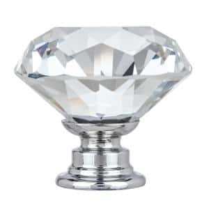 Crystal 1-3/8 in. Dia (35 mm) Clear K9 Crystal with Chrome Base Cabinet Knob (10-Pack)
