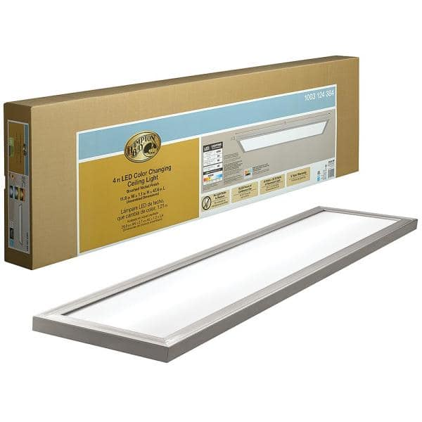 Hampton Bay 48 In X 12 In Low Profile Selectable Led Flush Mount Ceiling Flat Panel Brushed Nickel Rectangle 4000 Lumens Dimmable 54325111 The Home Depot