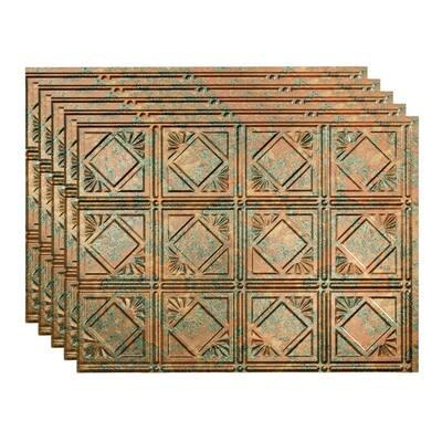 Traditional 4 18 in. x 24 in. Copper Fantasy Vinyl Decorative Wall Tile Backsplash 15 sq. ft. Kit