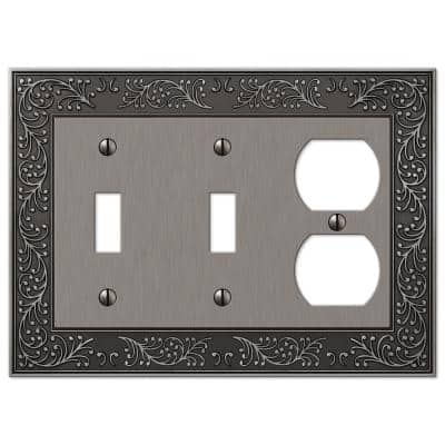 Bleinhem 3 Gang 2-Toggle and 1-Duplex Metal Wall Plate - Antique Nickel
