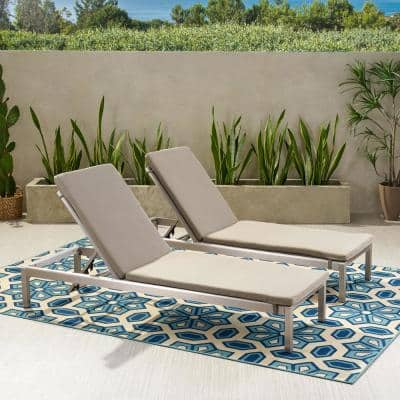 Cape Coral Silver 2-Piece Aluminum Outdoor Chaise Lounge with Khaki Cushions