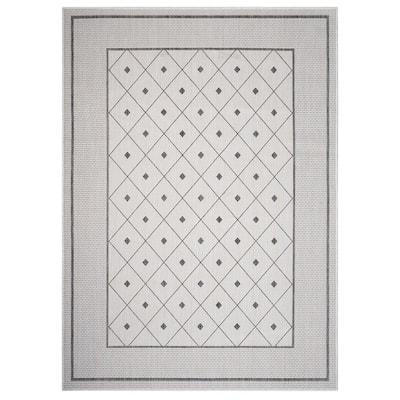 Kilimanjaro Anthracite Gray/White 5 ft. 3 in. x 7 ft. Diamond Geometric Bordered Polypropylene Indoor/Outdoor Area Rug