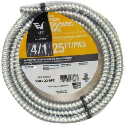 4/1 x 25 ft. Bare Armored Ground Cable