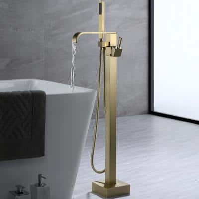Single-Handle Floor-Mount Freestanding Bathroom Tub Faucets with Handheld Shower in Brushed Gold