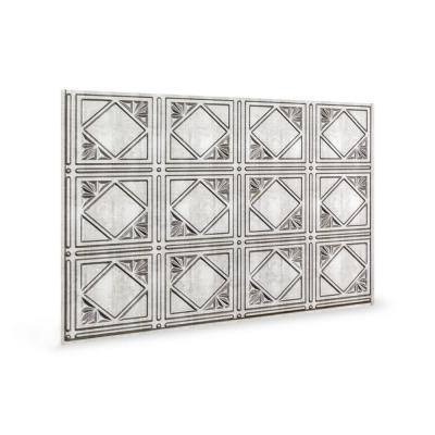 18.5'' x 24.3'' Artnouvo Decorative 3D PVC Backsplash Panels in Crosshatch Silver 6-Pieces