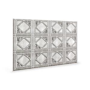 24.3 in. x 18.5 in. Artnouvo Decorative 3D PVC Backsplash Panels in Crosshatch Silver (12-Pieces)