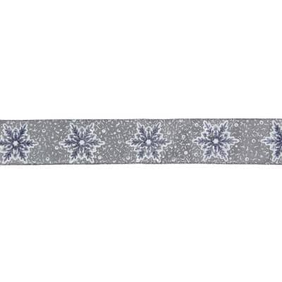 2.5 in. x 16 yds. Grey and White Glitter Snowflake Wired Craft Ribbon