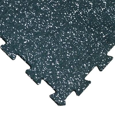 ReUz 0.24 in. T x 1.6 ft. W x 1.6 ft. L White Speckle Rubber Flooring Tiles (11 sq. ft.) (4-Pack)