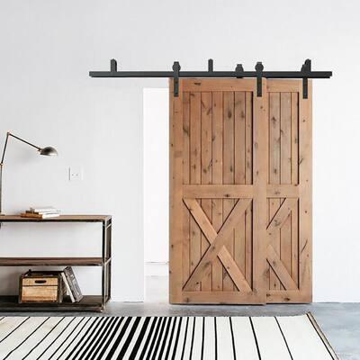 6 ft./72 in. Powder Coated Black Heavy-Duty Bypass Double Door Sliding Barn Door Hardware Classic Design Roller