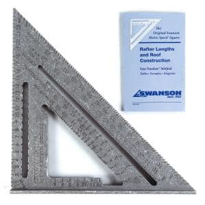 25 cm Metric Speed Square, Rafter / Carpenter Square Layout Tool with Plain Markings and Blue Book