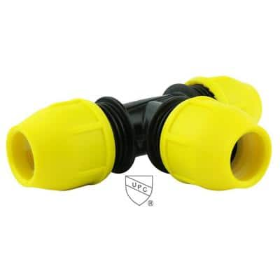 1 in. IPS DR 11 Underground Yellow Poly Gas Pipe Tee