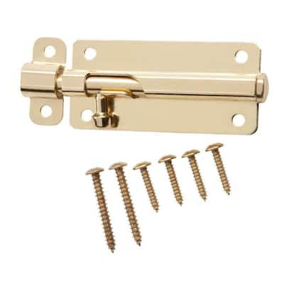 4 in. Bright Brass Spring-Lock Barrel Bolt