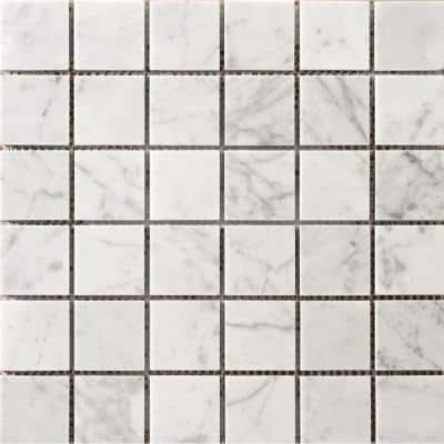 Marble Bianco Gioia Polished 11.93 in. x 11.93 in. x 10 mm Marble Mesh-Mounted Mosaic Tile (1 sq. ft.)