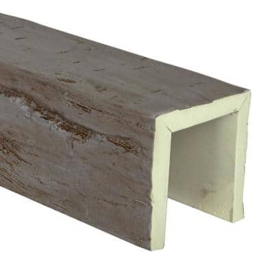 SAMPLE - 6 in. x 12 in. x 6 in. Urethane 3-Sided (U-Beam) Hand Hewn Faux Wood Ceiling Beam , Natural Honey Dew Finish
