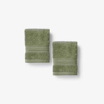 Company Cotton Marsh Green Turkish Cotton 2-Piece Wash Cloth