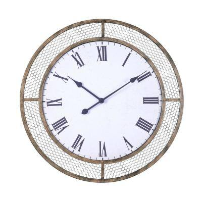 Grover 30 in. Weathered Brown Rustic Wall Clock