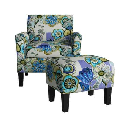 Mimi Rose Half Round Multi-Lavender and Yellow Floral Arm Chair and Ottoman Set