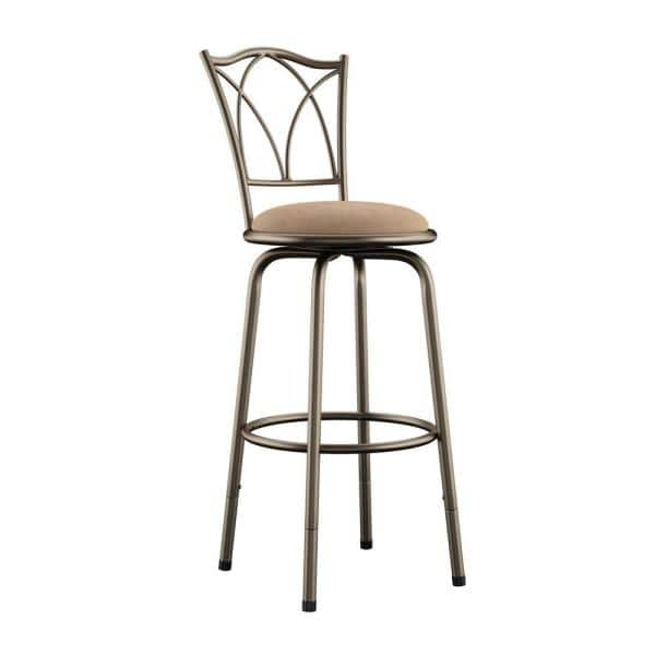 Adjustable Height Brown Swivel Cushioned Bar Stool Set Of 3 40855c972w 3a The Home Depot