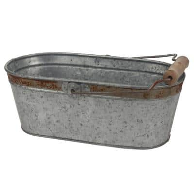 12 in. x 5.5 in. Galvanized Bucket with Rust Trim and Handle