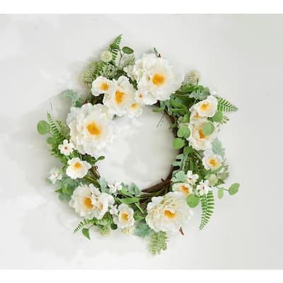 22 in. Cream Poppy Wreath on Twig Base