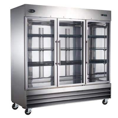 81 in. W 72 cu. ft. Three Glass Door Display Commercial Reach In Upright Refrigerator in Stainless Steel