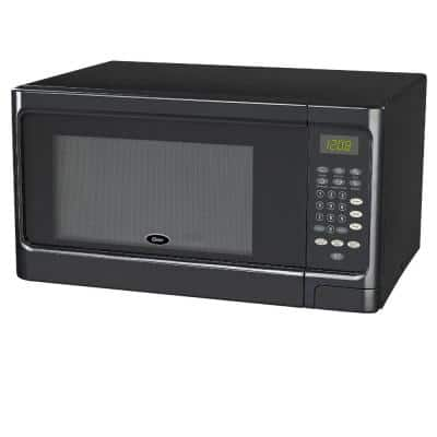 1.1 cu. Ft. Countertop Microwave Black 1000-Watt with Push Button