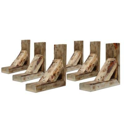 Barnwood Decor Collection 3-1/2 in. W x 12 in. D x 12 in. H Natural Barnwood Vintage Farmhouse Bracket (6-Pack)