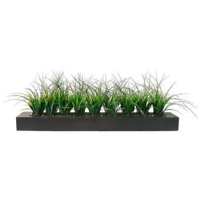 Green Grass in Contemporary Wood Planter