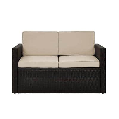 Palm Harbor Wicker Outdoor Loveseat with Sand Cushions