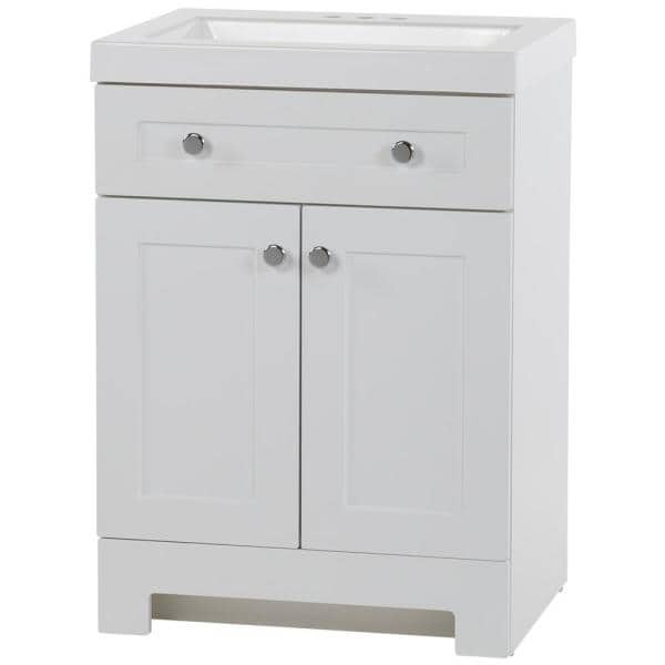 Glacier Bay Everdean 24 50 In W X 18 75 In D Bath Vanity In White With Cultured Marble Vanity Top In White With White Basin Ev24p2 Wh The Home Depot