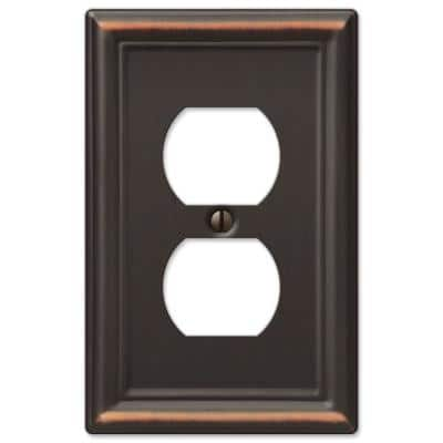 Ascher 1 Gang Duplex Steel Wall Plate - Aged Bronze