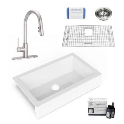 Elevate All-in-One Quick-Fit Fireclay 33.85 in. Single Bowl Undermount Farmhouse Kitchen Sink with Pfister Faucet