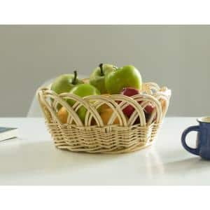 11.25- Inch Decorative Willow Round Fruit Bowl Bread Basket Serving Tray, Small
